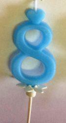 """számgyertya+talp kék - """"8"""""""