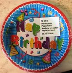 Party tányér 18cm 6db - Happy Birthday
