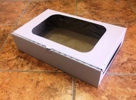 Süteményes doboz ablakos papír 22cm*34cm*8cm