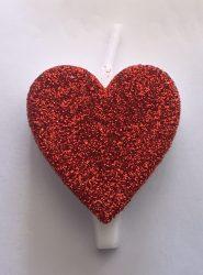 gyertya+talp szív - piros