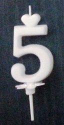 """számgyertya+talp fehér - """"5"""""""