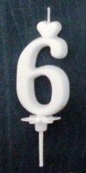 """számgyertya+talp fehér - """"6"""""""