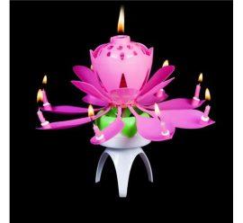 gyertya zenélő virág rózsaszín