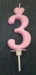 """számgyertya+talp rózsaszín - """"3"""""""