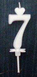 """számgyertya+talp fehér - """"7"""""""
