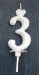 """számgyertya+talp fehér - """"3"""""""