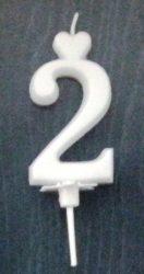 """számgyertya+talp fehér - """"2"""""""