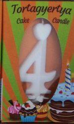 """számgyertya+talp fehér dobozos - """"4"""""""