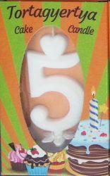 """számgyertya+talp fehér dobozos - """"5"""""""