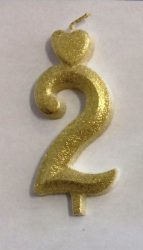 """számgyertya+talp arany - """"2"""""""