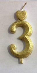 """számgyertya+talp arany - """"3"""""""