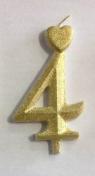 """számgyertya+talp arany - """"4"""""""
